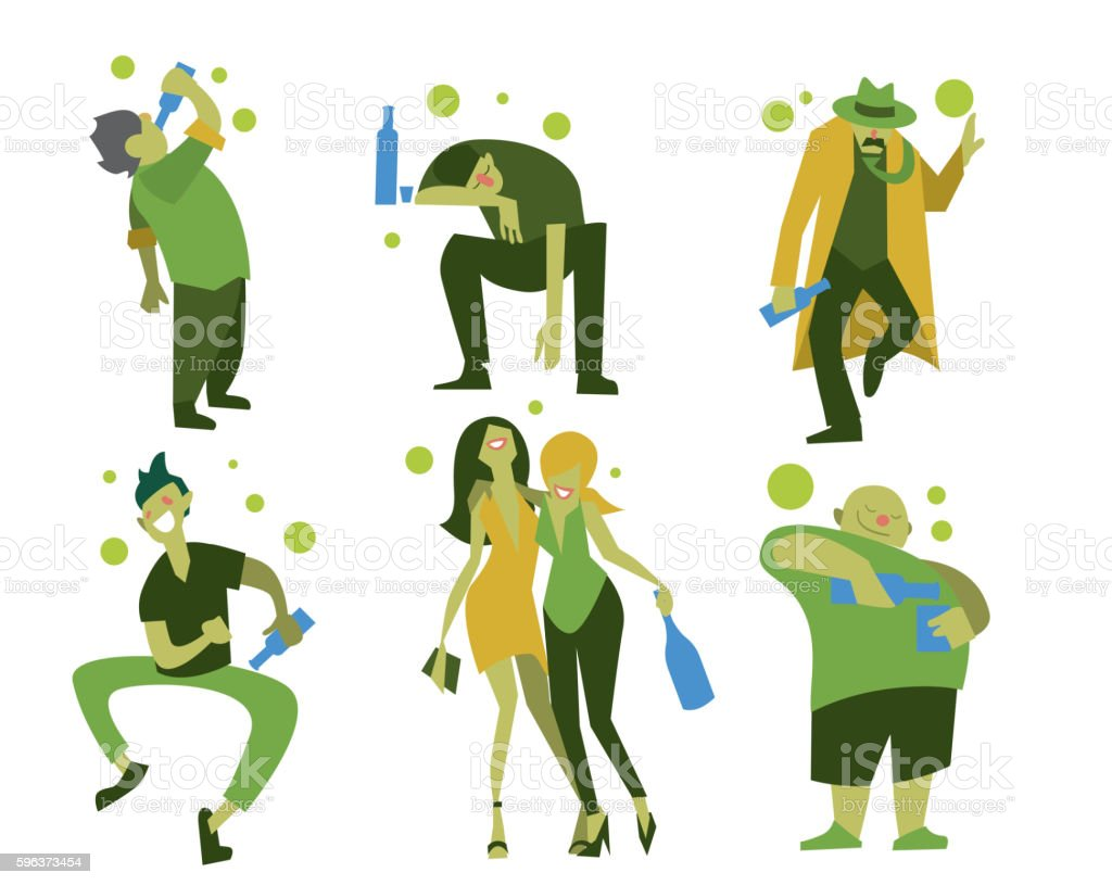 Drunk people, men and women vector art illustration