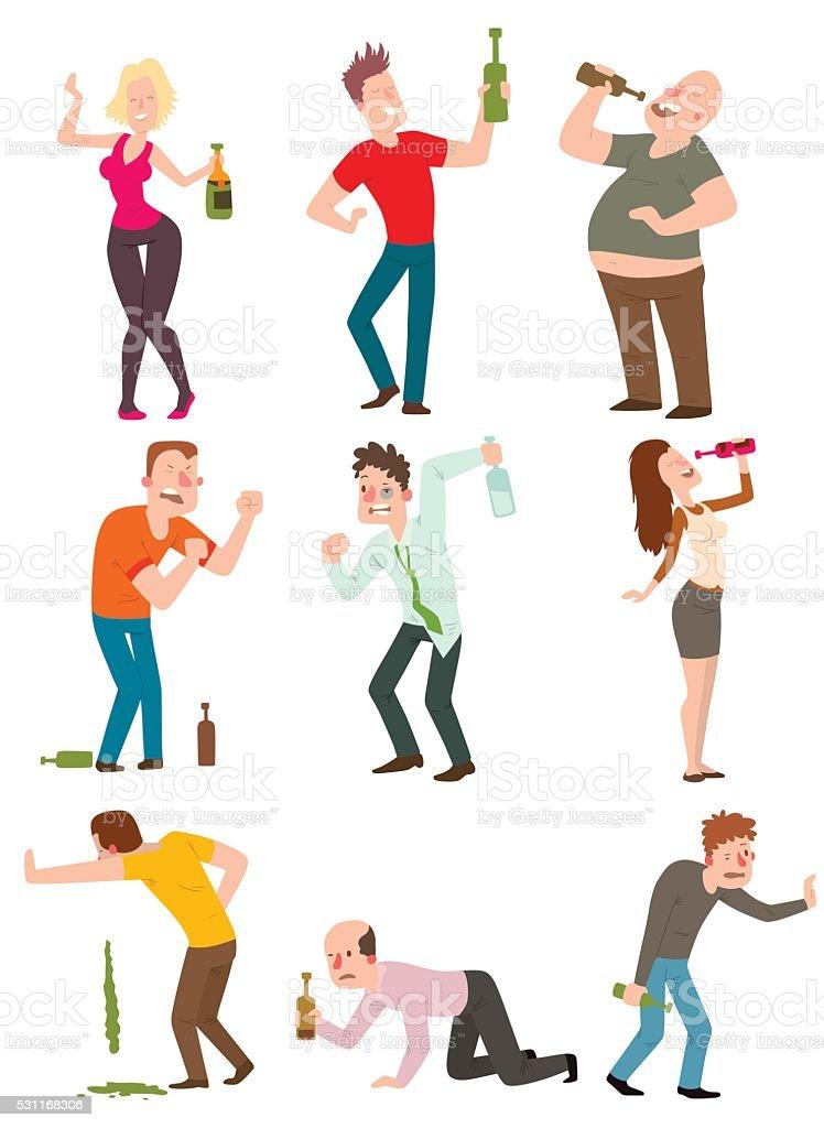 Drunk people vector illustration vector art illustration