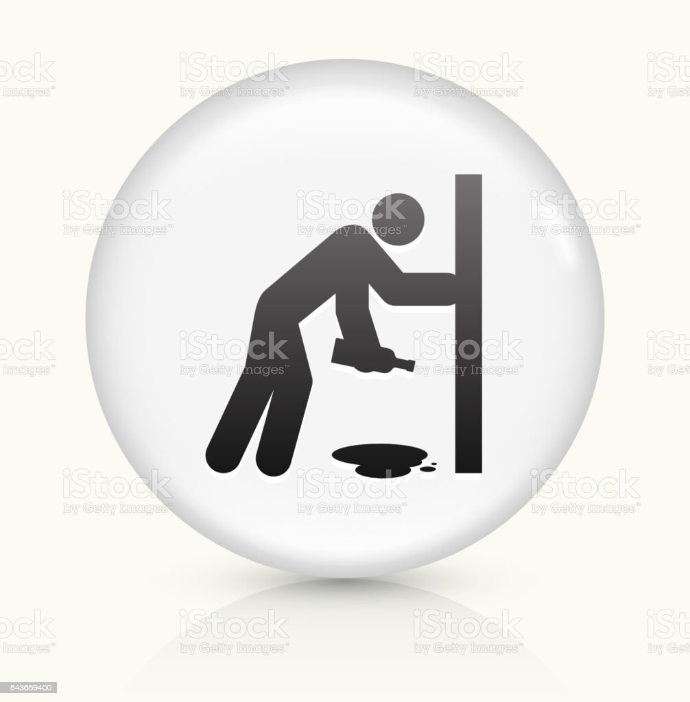 Drunk Person Holding Bottle icon on white round vector button vector art illustration