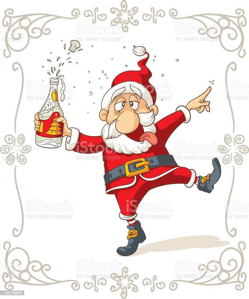 Drunk Santa Dancing Vector Cartoon vector art illustration