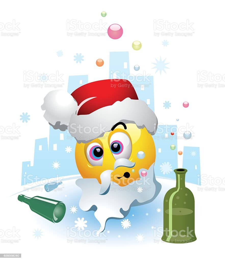 Drunk smiley dressed as a Santa Clause vector art illustration