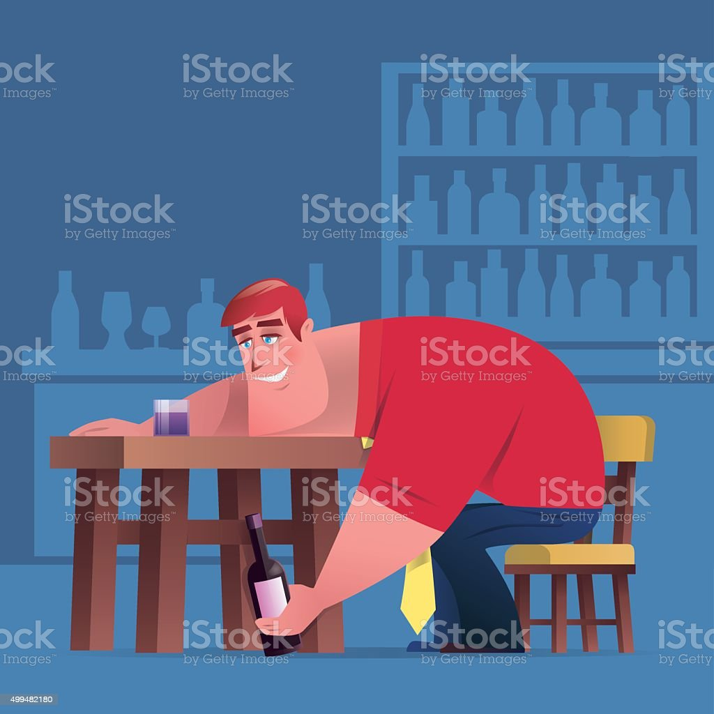 drunk vector art illustration