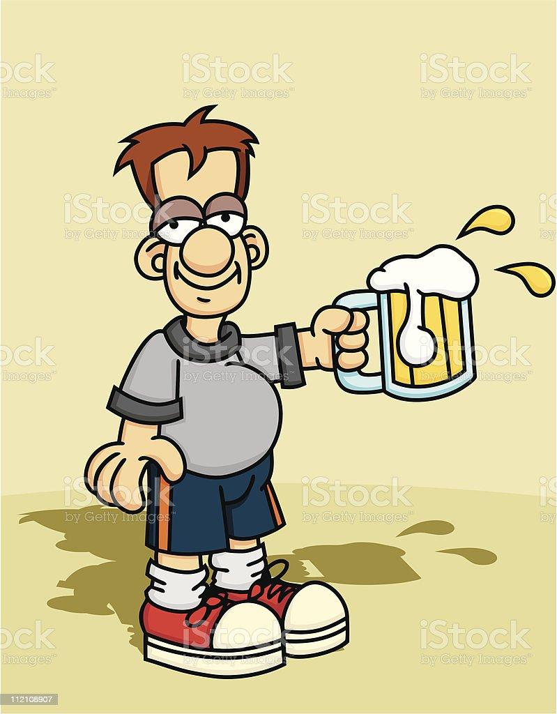 Drunk Young Man vector art illustration