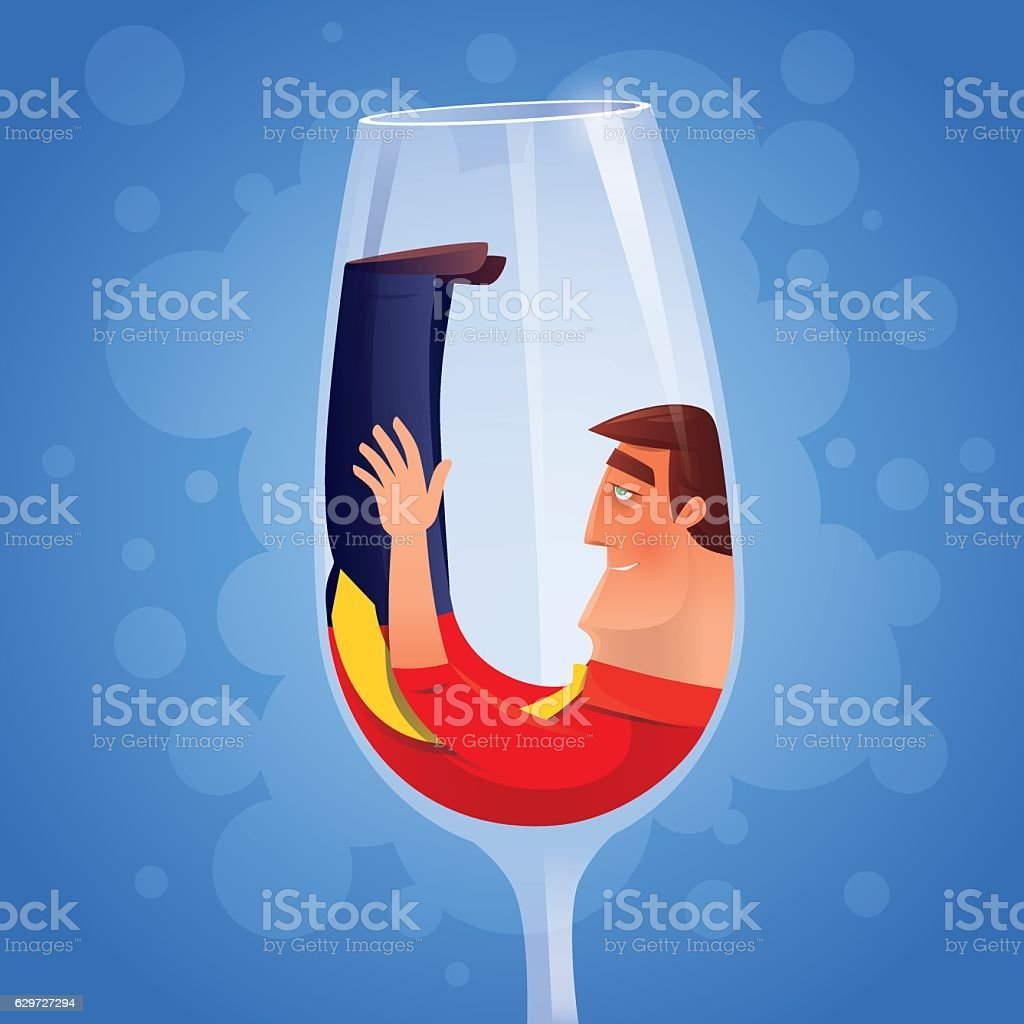 drunken businessman with wine glass vector art illustration