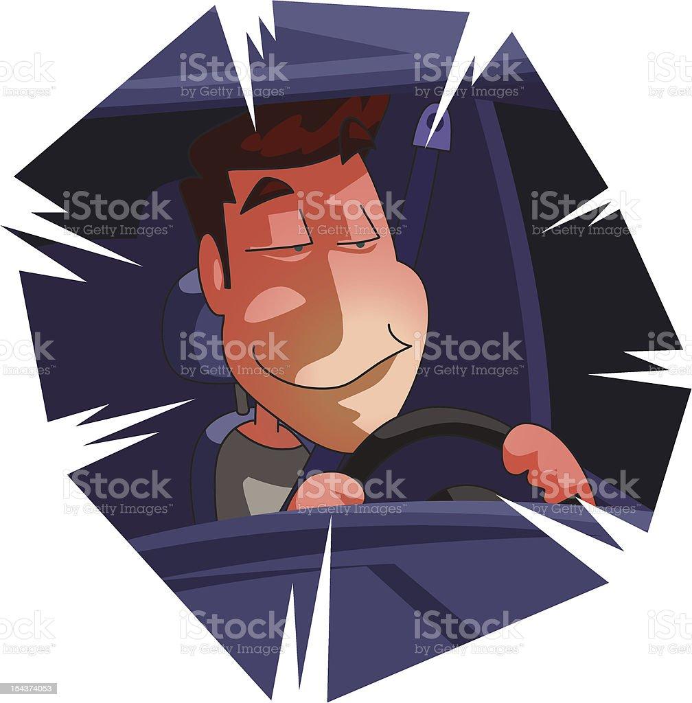 Drunken driver vector art illustration