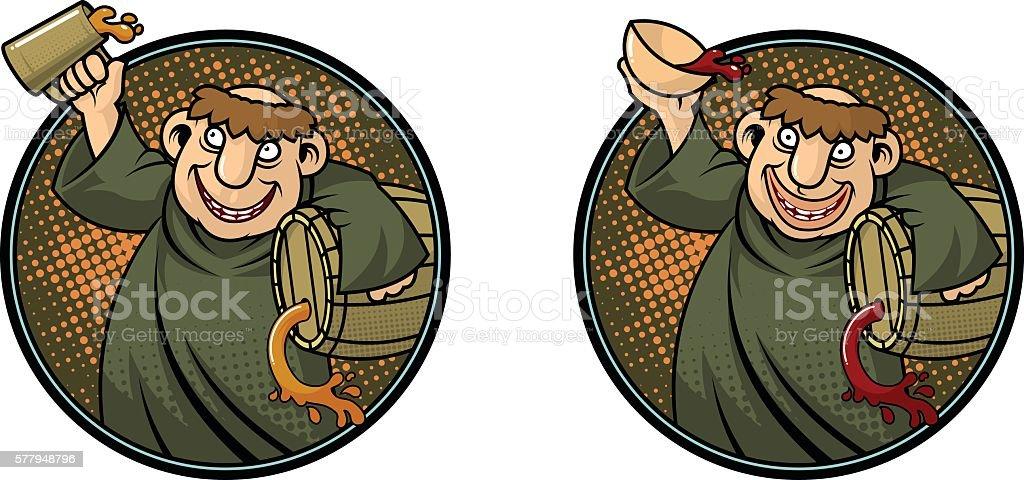 drunken monk vector art illustration
