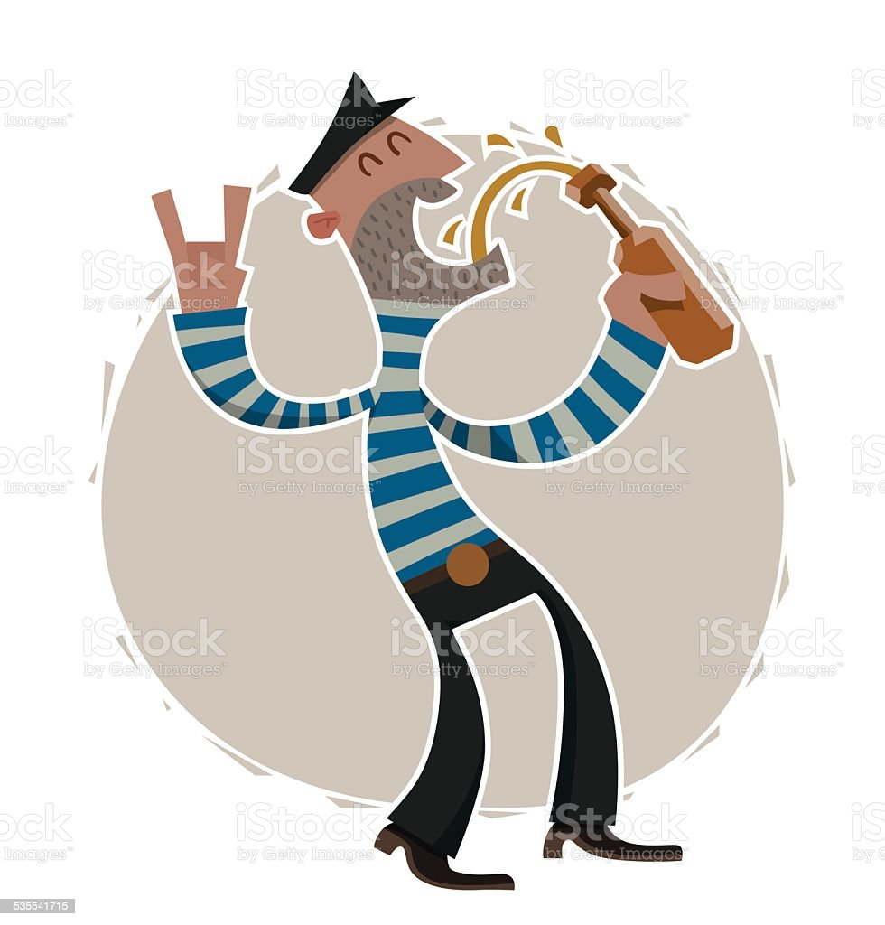 Sailor stock photos illustrations and vector art - Drunken Sailor With Bottle Of Beer Royalty Free Stock Vector Art
