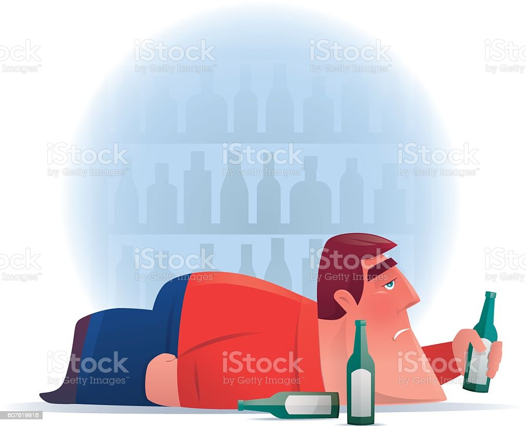 drunker with beer bottles vector art illustration
