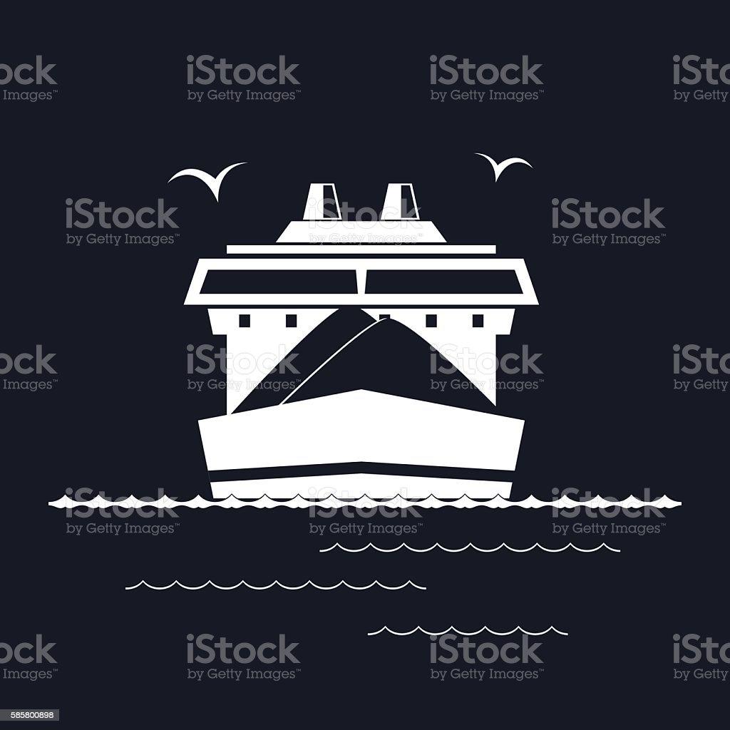 Dry Cargo Ship Isolated on Black vector art illustration