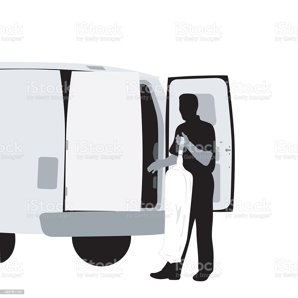 Dry Cleaning Delivery vector art illustration