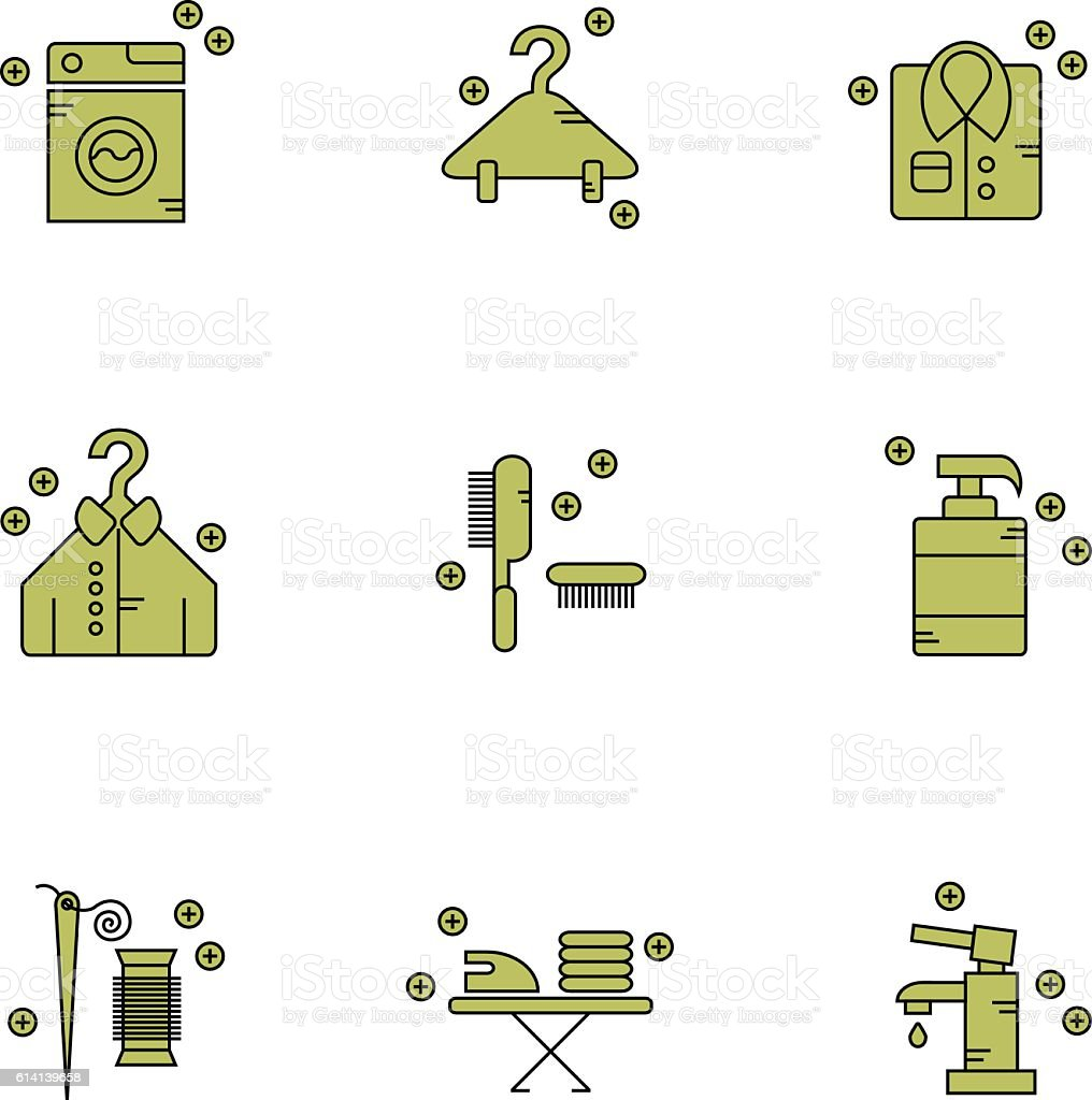 Dry cleaning laundry & repairs vector icon set vector art illustration
