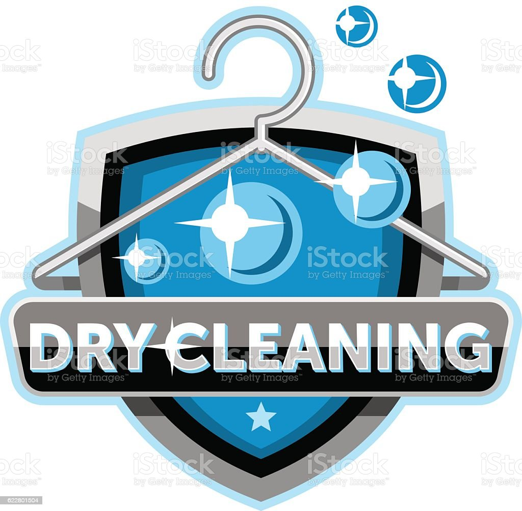 Dry cleaning logo emblem icon template vector art illustration