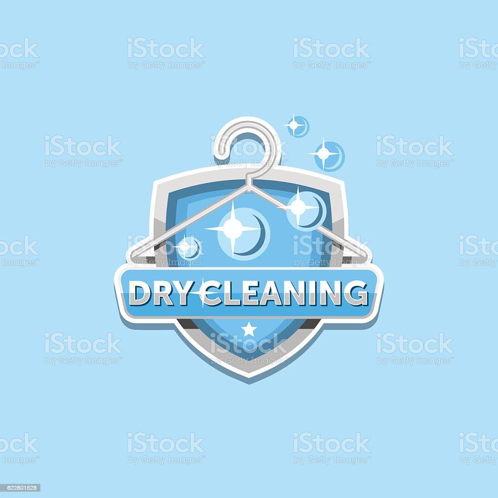 Dry cleaning logo emblem template vector art illustration