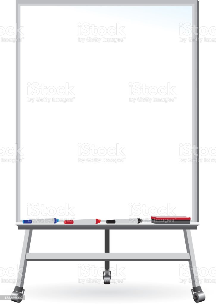 Dry Erase Board - Whiteboard with markers and eraser royalty-free stock vector art