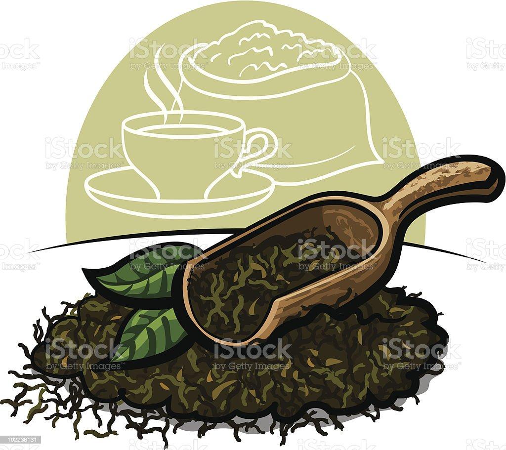 dry green tea royalty-free stock vector art