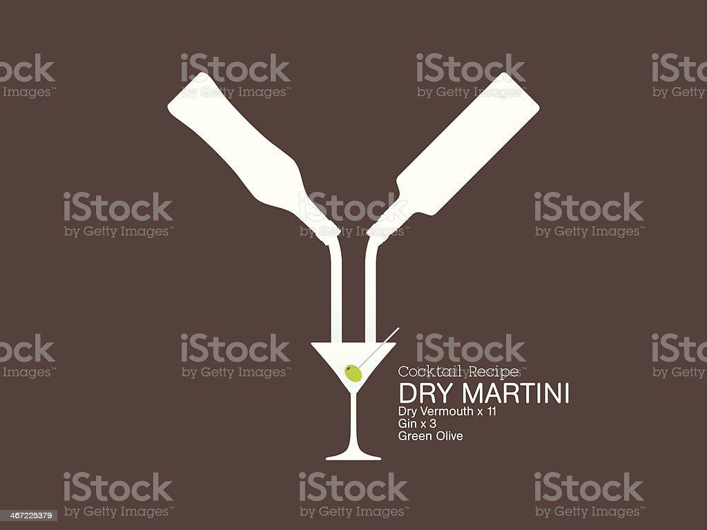 Dry Martini  Cocktail Recipe vector art illustration