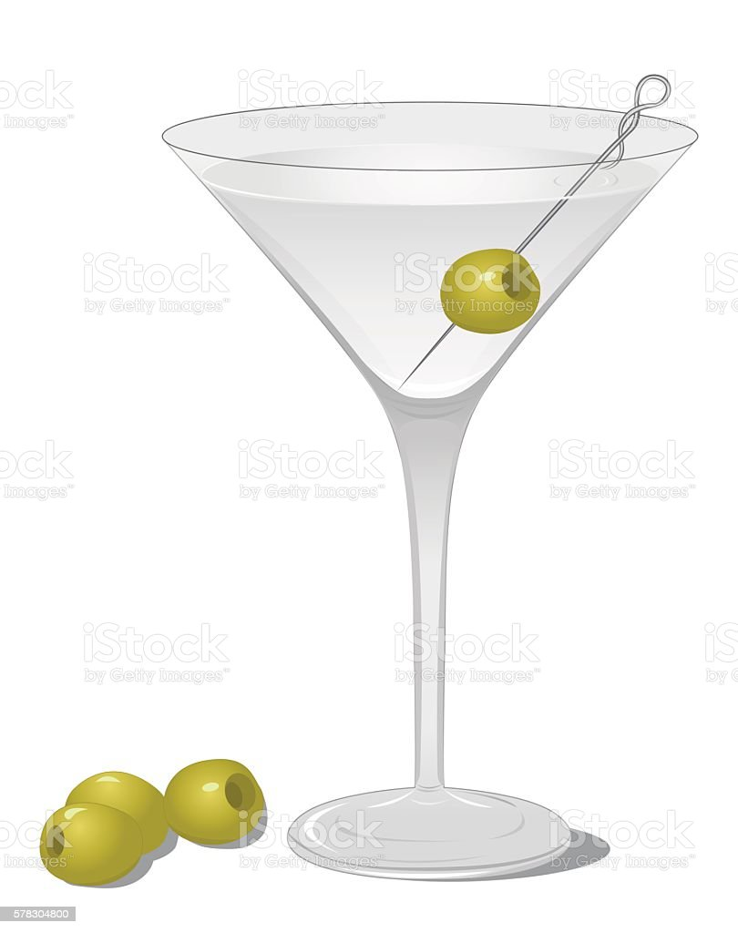 Dry Martini cocktail vector art illustration