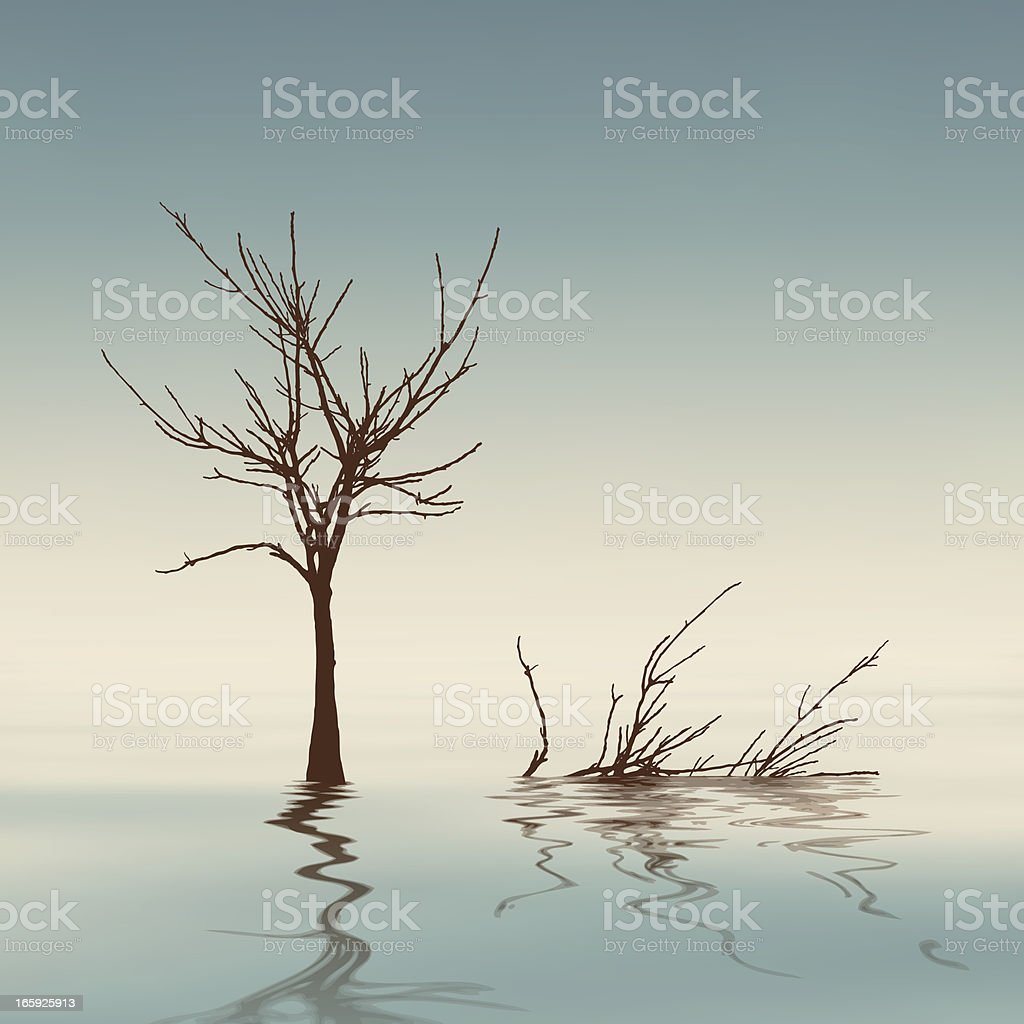 Dry tree on the water royalty-free stock vector art