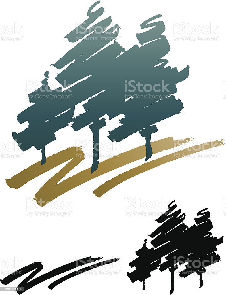 Drybrushed Vector Trees vector art illustration