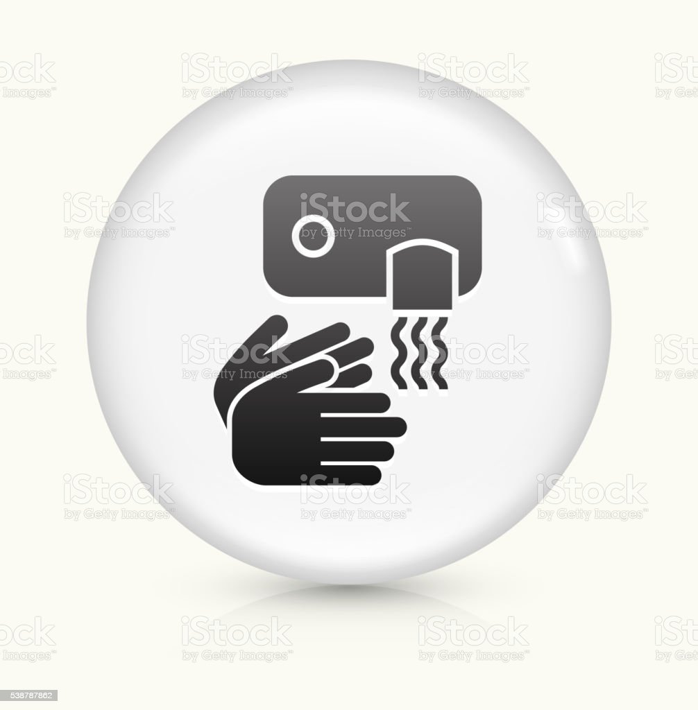 Drying Hands icon on white round vector button vector art illustration