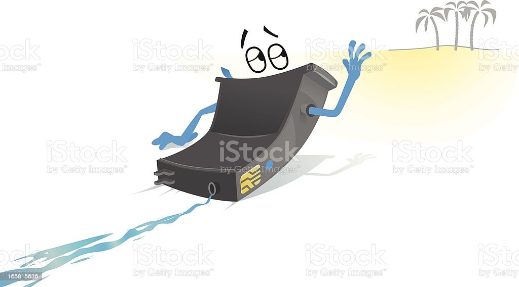 Drying ink cartridge character concept vector art illustration