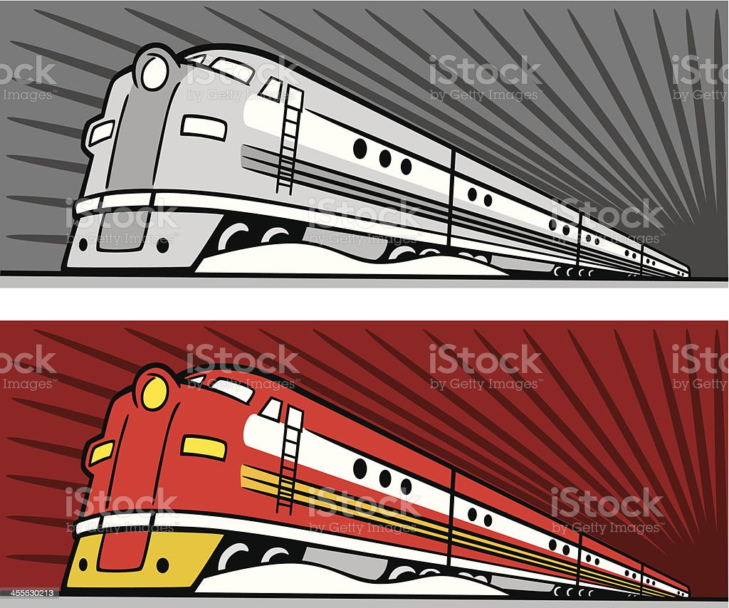 Dual illustrations of speeding diesel trains royalty-free stock vector art
