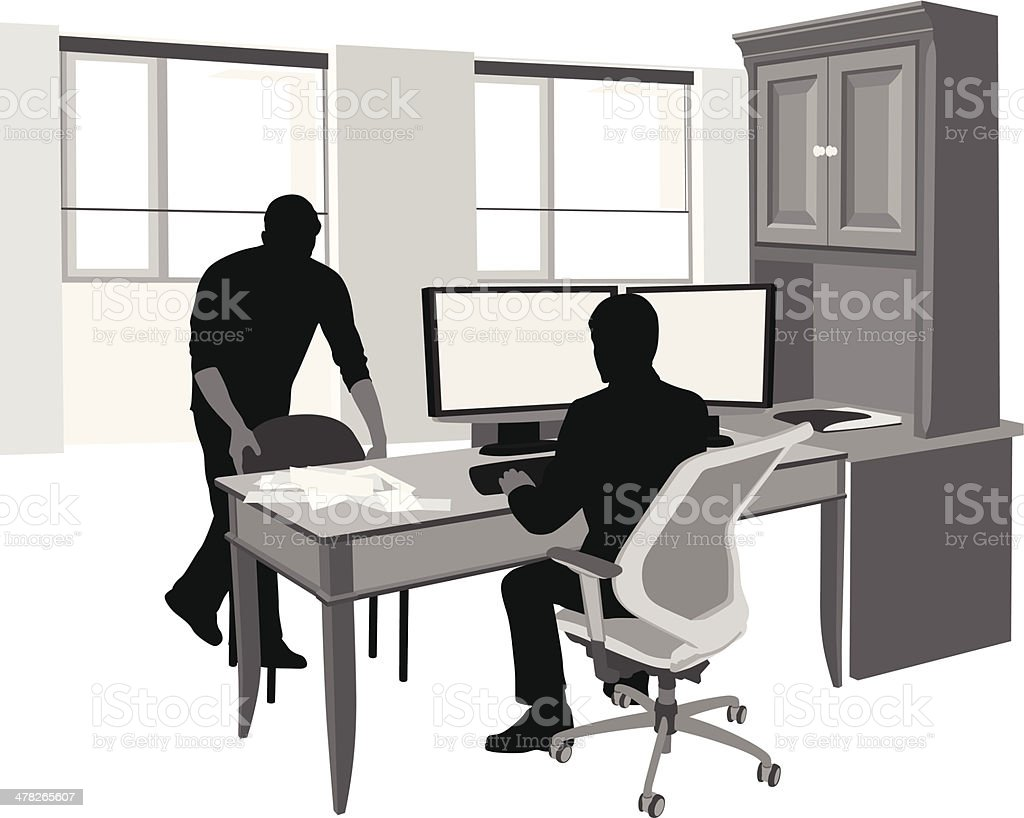 Dual Monitor vector art illustration