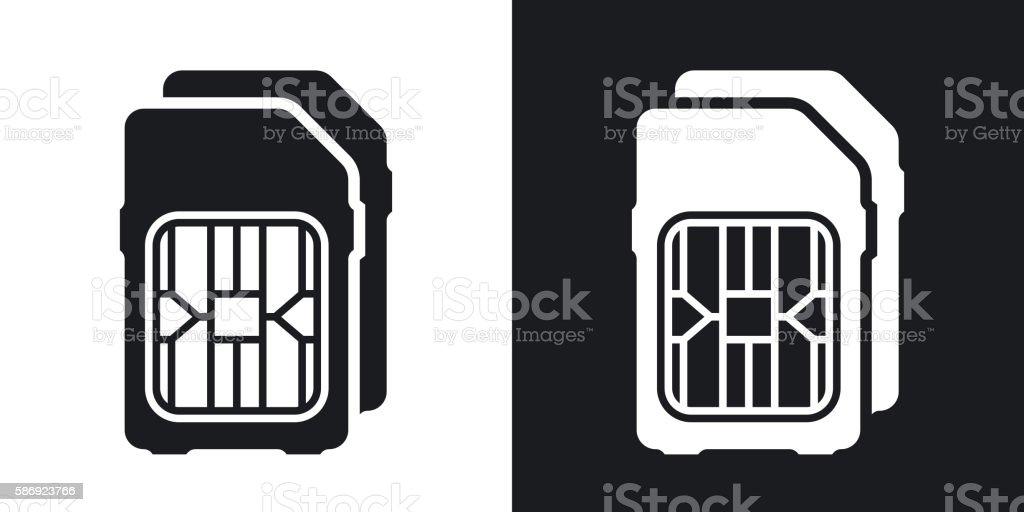 Dual SIM cards icon, vector. vector art illustration