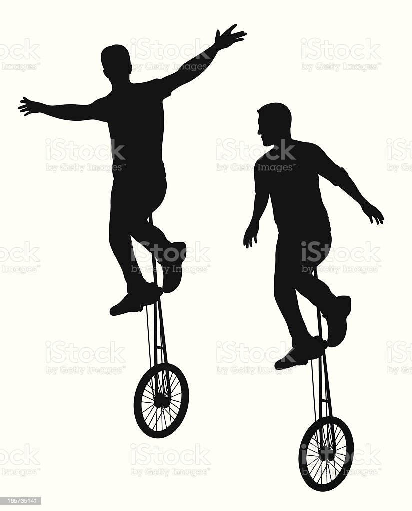 Dual Unicycle Vector Silhouette vector art illustration