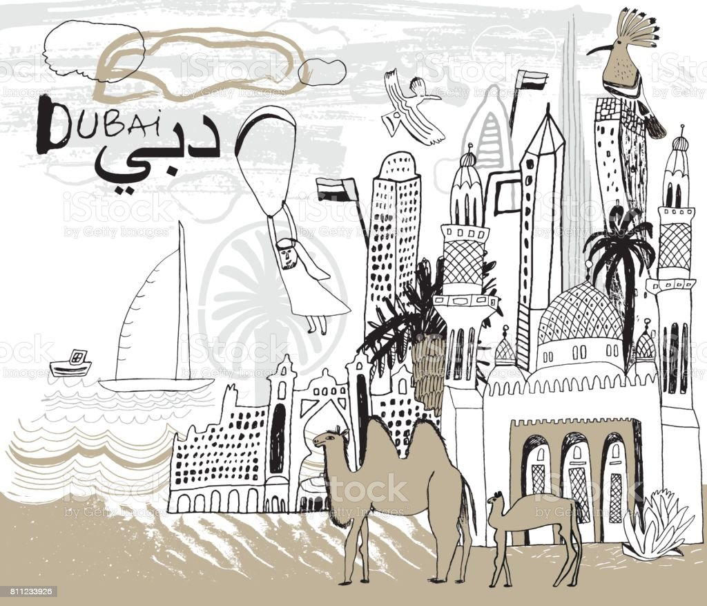 Dubai city in UAE vector art illustration