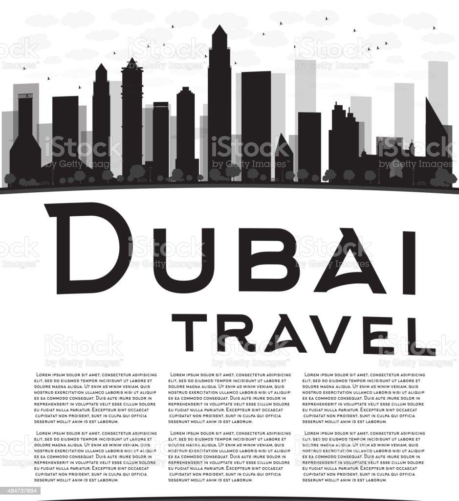 Dubai City skyline black and white silhouette vector art illustration