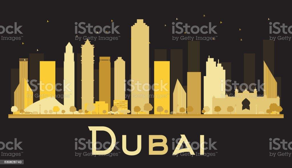 Dubai City skyline silhouette with golden skyscrapers. vector art illustration
