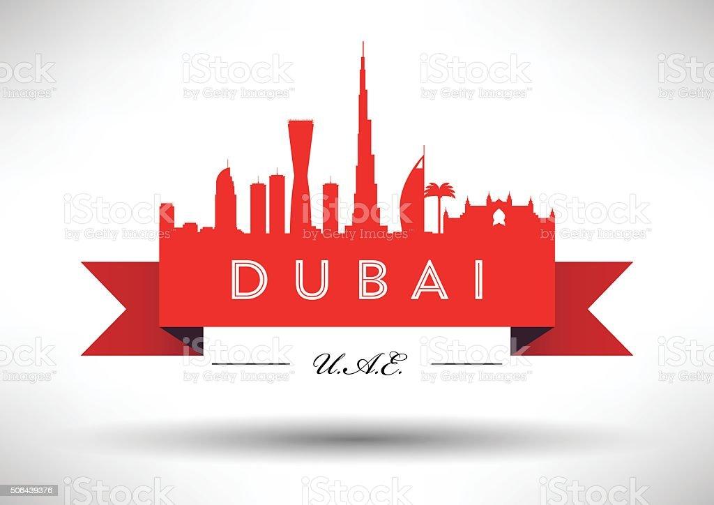 Dubai City Skyline Typography Design vector art illustration