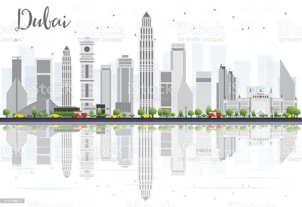 Dubai City skyline with Gray Skyscrapers and Reflections Isolate vector art illustration