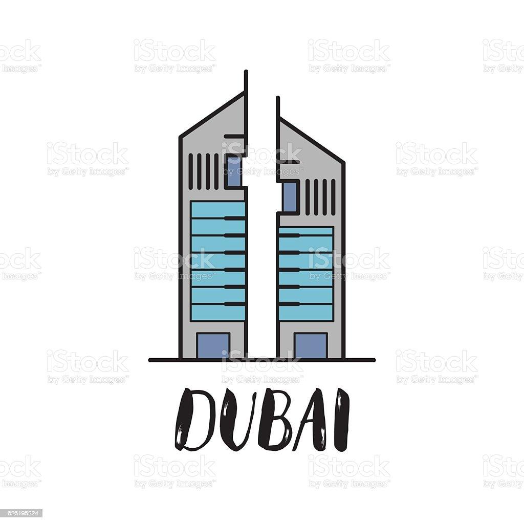 Dubai Emirates towers flat illustration with modern lettering vector art illustration