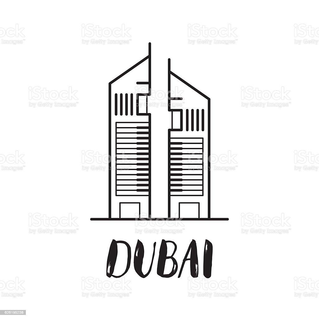 Dubai Emirates towers line art illustration with modern letterin vector art illustration