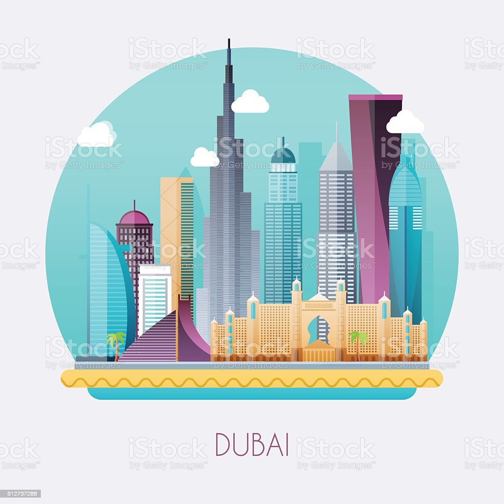 Dubai. Skyline and vector landscape of buildings and famous land vector art illustration
