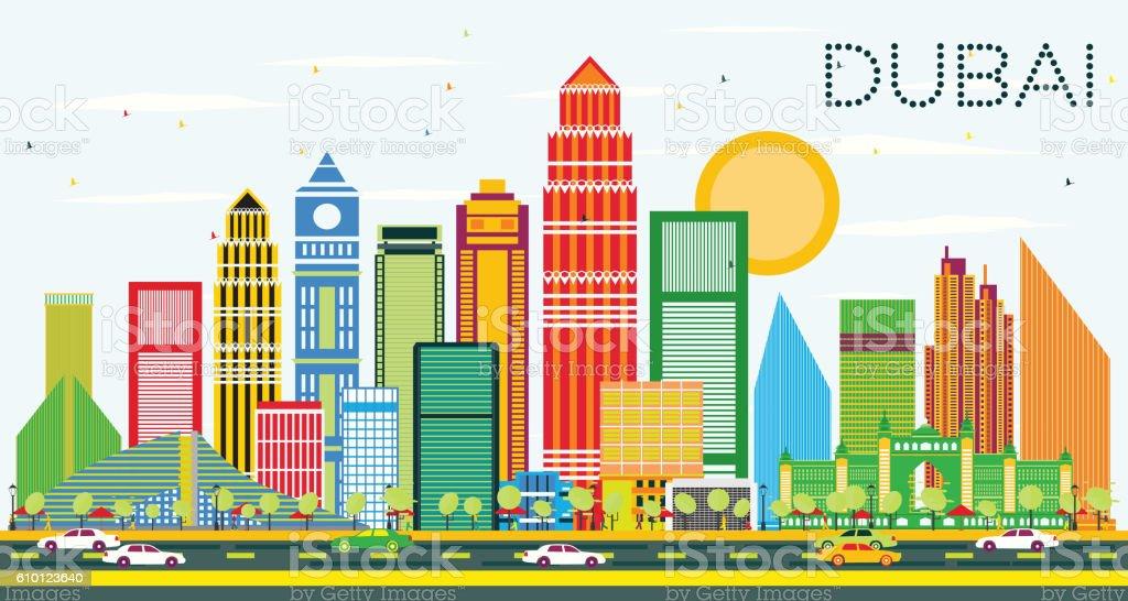Dubai Skyline with Color Buildings and Blue Sky. vector art illustration