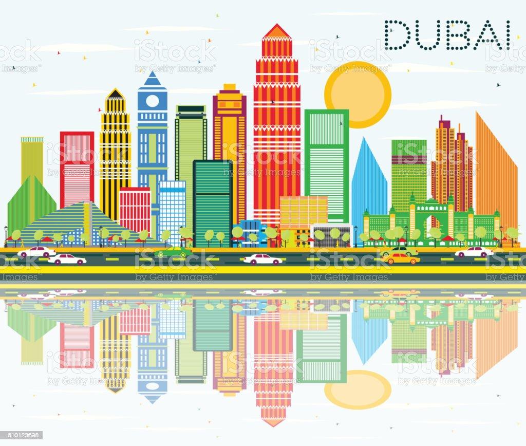 Dubai Skyline with Color Buildings, Blue Sky and Reflection. vector art illustration
