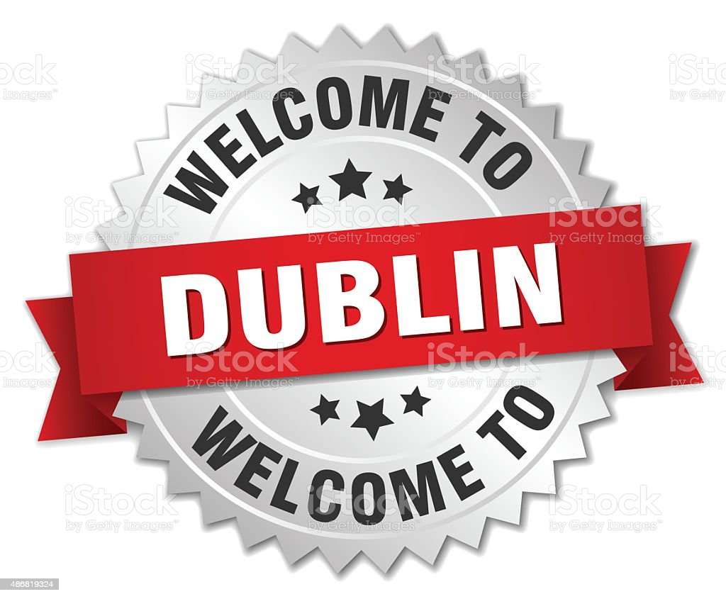 Dublin 3d silver badge with red ribbon vector art illustration