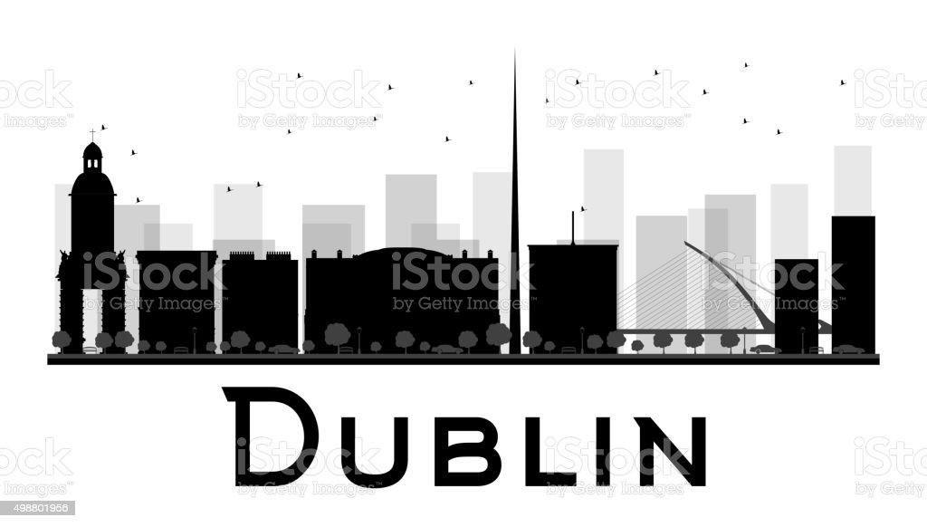 Dublin City skyline black and white silhouette. vector art illustration