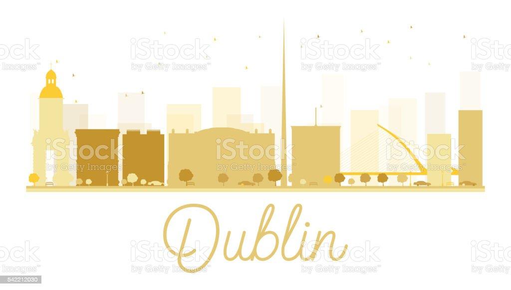 Dublin City skyline golden silhouette. vector art illustration