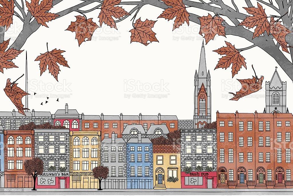 Dublin in autumn vector art illustration
