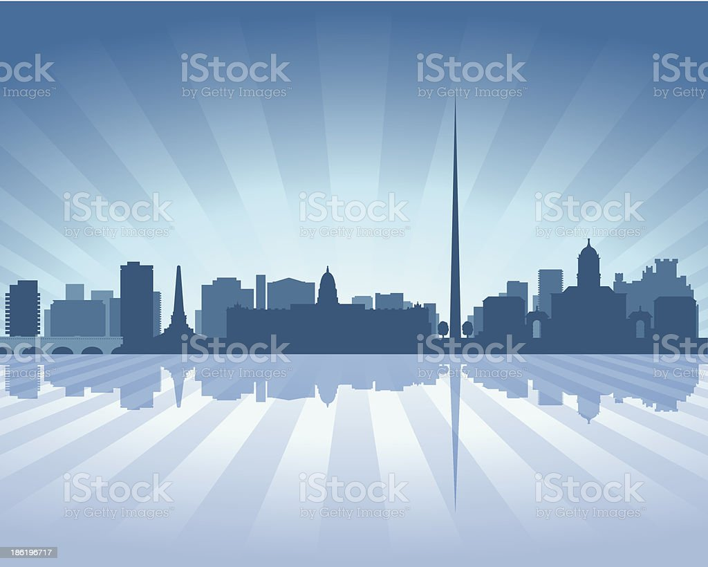 Dublin Ireland Blue City skyline silhouette vector art illustration