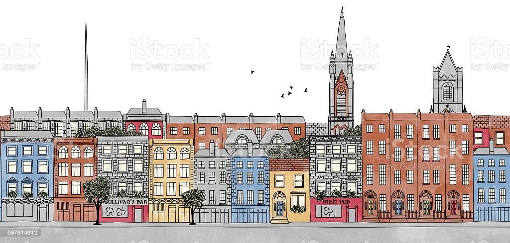 Dublin, Ireland - seamless banner of Dublin's skyline vector art illustration