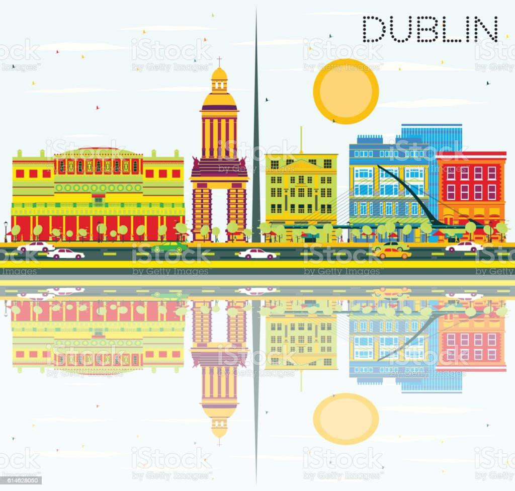 Dublin Skyline with Color Buildings, Blue Sky and Reflections. vector art illustration