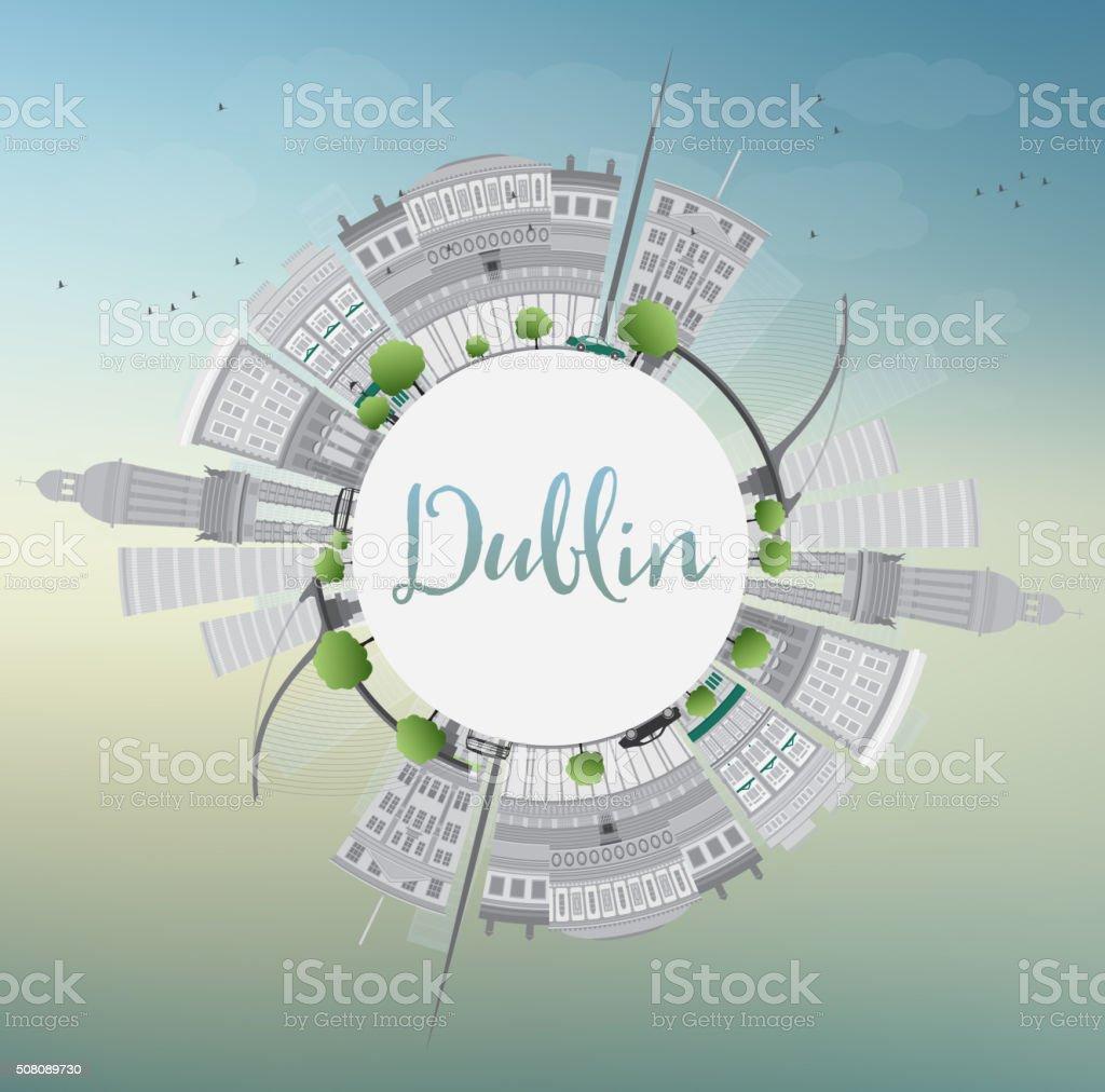 Dublin Skyline with Gray Buildings, Blue Sky and Copy Space. vector art illustration