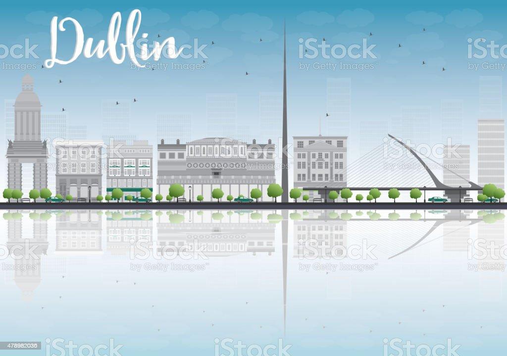 Dublin Skyline with Grey Buildings and Blue Sky, Ireland vector art illustration
