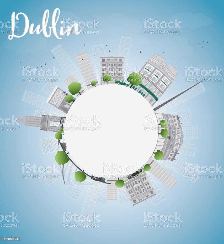 Dublin Skyline with Grey Buildings, Blue Sky and copy space vector art illustration
