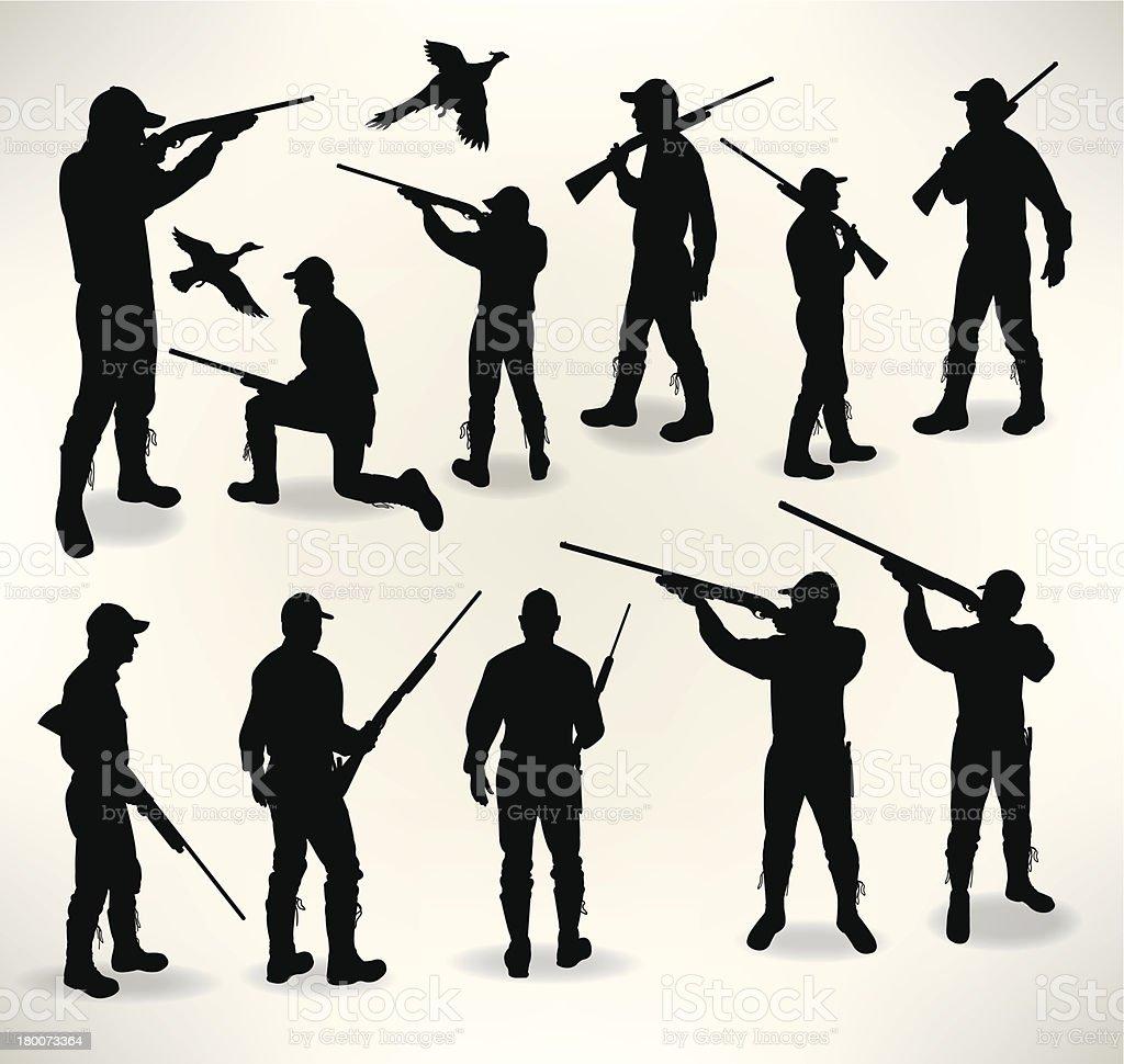 Duck and Pheasant Hunters vector art illustration